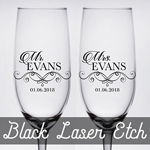 Pair of Black Etched Personalized Wedding Toasting Champagne Flutes -