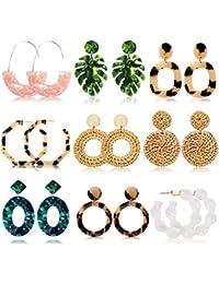 Acrylic Earrings for Women Drop Dangle Leaf Earrings Resin Minimalist Bohemian Statement Jewelry (9 pair Rattan Acrylic)