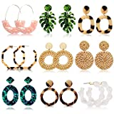 Acrylic Earrings for Women Drop Dangle Leaf Earrings Resin Minimalist Bohemian Statement Jewelry (9 pair Rattan Acrylic): more info