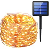 AMIR Solar Powered String Lights, 200 LED Copper Wire Lights, 72ft 8 Modes Starry Lights, Waterproof IP65 Fairy Christmas Decorative Lights for Outdoor, Wedding, Homes, Party, Halloween (Warm White)