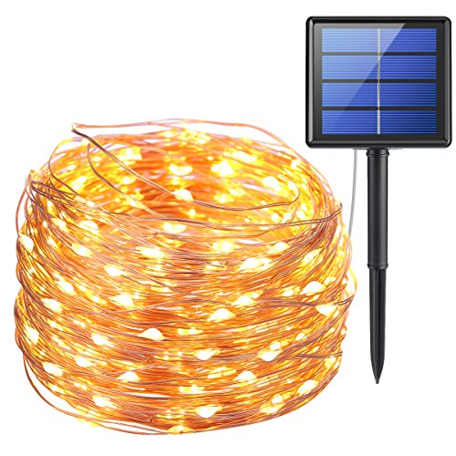 AMIR Solar Powered String Lights, 200 LED Copper Wire Lights, 72ft 8 Modes Starry Lights, Waterproof IP65 Fairy Christmas Decorative Lights for Outdoor, Wedding, Homes, Party, Halloween (Warm White) ()