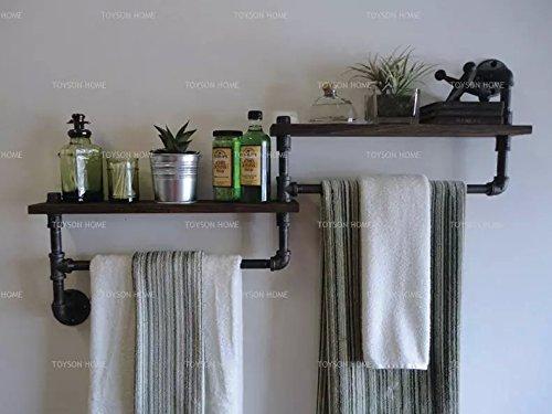 - Hlluya Bathroom Accessory Set Retro Industrial Water Bath Bathroom Towel Rack Wooden Shelf Rack Room Wall Racks Wall Mount, A Color