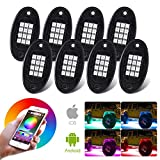 RGB LED Rock Lights with Bluetooth Controller, Timing Function, Music Mode Multicolor Neon LED Light Kit Under Body Glow Light Lamp Trail Fender Lighting JEEP Off Road Truck Car ATV SUV(8 Pods)