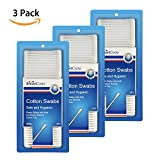 SmartCode Cotton Swabs, Cotton Buds, 100% Pure Cotton, Double-Tipped with Plastic Sticks for Baby Care Makeup Application, 375ct, Pack of 3