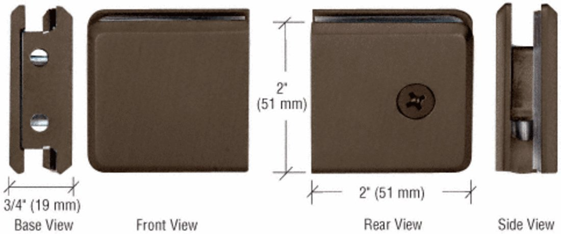 C.R. LAURENCE BGCU1BBRZ CRL Brushed Bronze Beveled Style Notch-in-Glass Fixed Panel U-Clamp