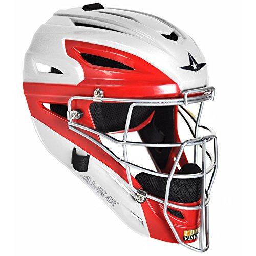 (All Star System 7 Two Tone Catchers Helmets Fits 7-7 3/4 White/Scarlet)