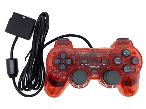 Saloke Wired Gaming Controller for Ps2 Double Shock (Clear Red)