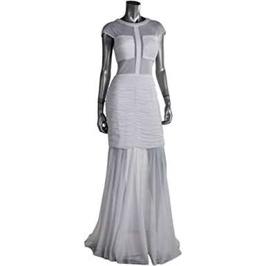 Terani Couture 359 Retail New White Ruched Sheer Gown Long Dress Formal Gown Prom Dress Bridal