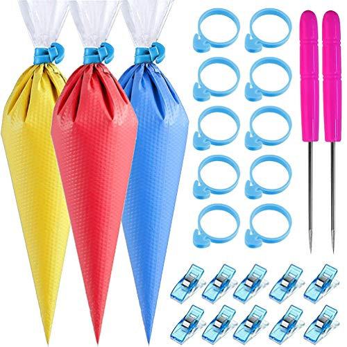 122Pieces Tipless Piping Bags - 100pcs Disposable Piping Pastry Bag for Royal Icing/Cookies Decorating - 10 Pastry Bag Ties,10 Clips &2 Scriber Needle - Best Cookie/Cake Decorating Tools (14 inch)