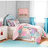 moroccan themed bedroom 3pc Girls White Pink Boho Patchwork Comforter Full Queen Set, Modern Cheerful Teen Themed Polyester, Purple Teal Damask Trellis Design Shabby Chic Moroccan Pattern, Kids Bedding Bedroom Floral