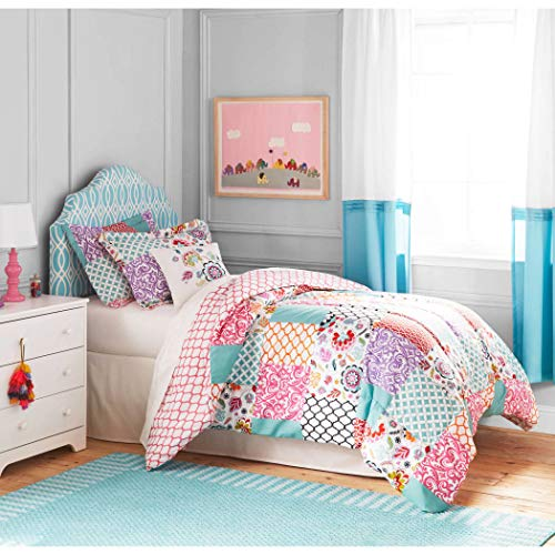 3pc Girls White Pink Boho Patchwork Comforter Full Queen Set, Modern Cheerful Teen Themed Polyester, Purple Teal Damask Trellis Design Shabby Chic Moroccan Pattern, Kids Bedding Bedroom Floral