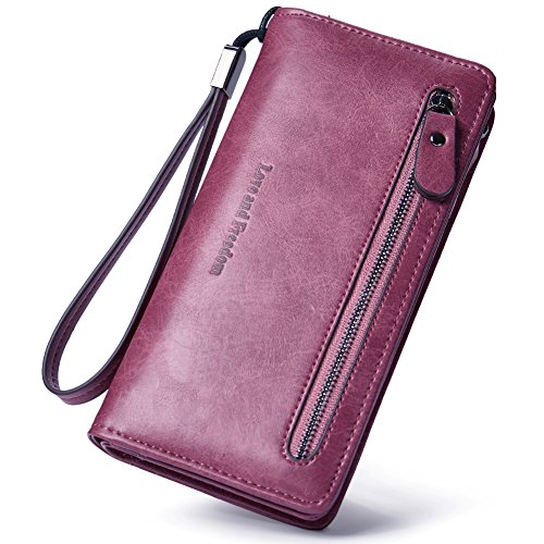 Women Wallet Leather Long Lady Wristlet Clutch Purse Compact Bifold Pocket For Girls wine red by Cluci