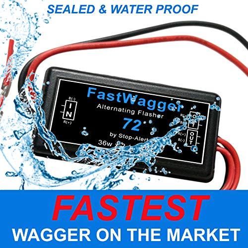 Stop-Alert FastWagger 72 Electronic Wig Wag Alternating Strobe light Flasher Relay - Powerful & Waterproof Emergency Police Ambulance Universal Controller LED & Incandescent Compatible 12-24V ()