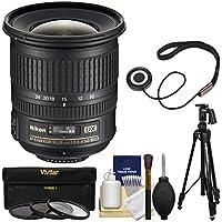 Nikon 10-24mm f/3.5-4.5 G DX AF-S ED Zoom-Nikkor Lens with Pistol-Grip Tripod + 3 Filters Kit for D3200, D3300, D5300, D5500, D7100, D7200 Camera