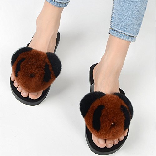 Slide Rabbit Flip Panda Slipper Women's Flat qmfur Caramel Soft Fur Flop 1p46xw6qtY