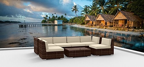 Urban Furnishing.net - BROWN SERIES 7b Modern Outdoor Backyard Wicker Rattan Patio Furniture Sofa Sectional Couch Set (Urban Patio Garden)