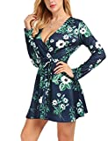 FISOUL Womens Dresses Sexy Deep V-Neck Long Sleeve Floral Print Cross Wrap Casual Flared Mini Dress with Belt Green S
