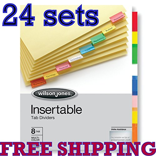 24 sets Wilson Jones Insertable Binder Tab Dividers, 8 Tab Multicolor (W54311A) - 24 packs of 8 sets ()