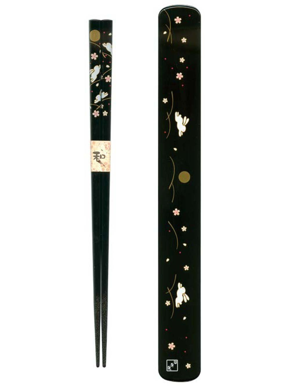 Ryu Mei 058016 Rabbit Japanese Black Chopstick Box and Chopstick Set, Black 3685
