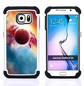 """Pulsar ( Red Planet Explosion Galaxy Universo Arte"""" ) Samsung Galaxy S6 / SM-G920 SM-G920 híbrida Heavy Duty Impact pesado deber de protección a los choques caso Carcasa de parachoques"""