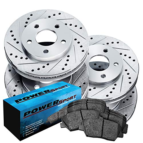 Toyota Brake - Fit 2004-2010 Toyota Sienna Front Rear Drill Slot Brake Rotors+Ceramic Pads