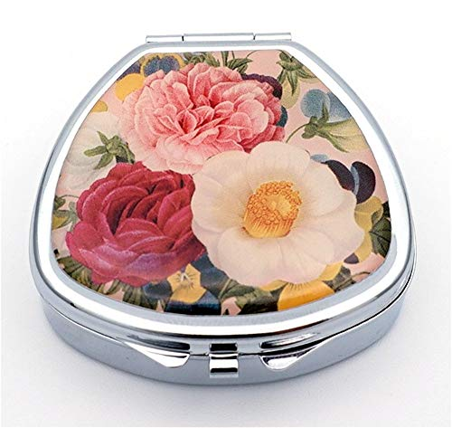 - Art Pill Box with 1 Large Compartment 2 or 3 Times a Day AM PM Portable Travel Pill Organizer Shell Silver Metal Pill Case Medicine Holder Container Jewelry Box for Purse Pocket(Flower)