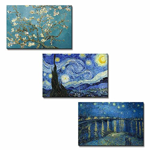 Van Gogh Replica Set of 3 The Starry Night The Starry Night Over the Rhone River Almond Blossoms x 3 Panels