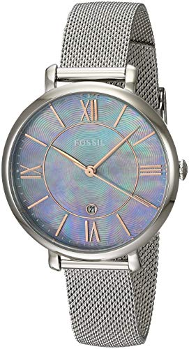 - Fossil Women's Jacqueline Quartz Watch with Stainless-Steel Strap, Silver, 14 (Model: ES4322)