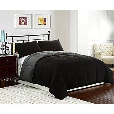 Cozy Beddings Reversible Down Alternative 3 Piece Comforter Set, Full/Queen, Grey/Black