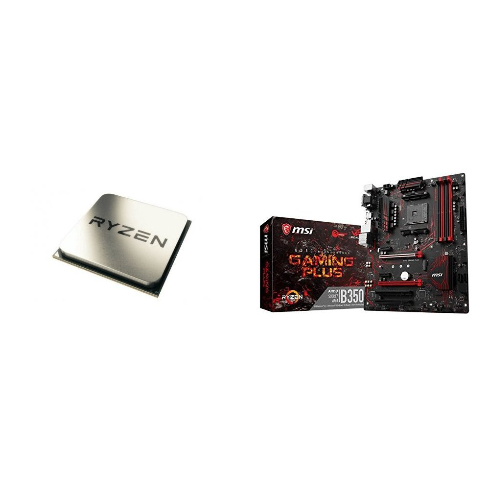 AMD Ryzen 5 1600X Processor (YD160XBCAEWOF) and MSI Gaming AMD Ryzen B350 DDR4 VR Ready HDMI USB 3 ATX Motherboard (B350 GAMING PLUS)