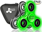 X2 Friendly Fidgets Fidget Spinner Prime Two Pack Wth Carrying Case EDC Tri Spinners Hand Fidget Toys for Kids and Adults with Anxiety 3 - 5 Minute Spin Times (Fidget Spinner 2 pack, Black / Glow In The Dark, Two Spinners)