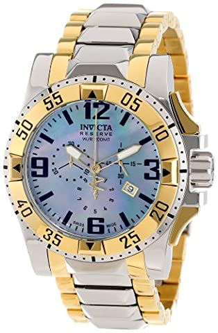 Invicta Men's 14044 Excursion Reserve Chronograph Blue Mother-Of-Pearl Dial Two Tone Stainless Steel (Invicta Reserve Excursion Gold)