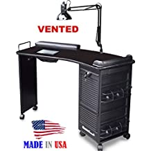 M601 Vented Manicure Nail Table, Lockable w/Curved Black Top by Dina Meri