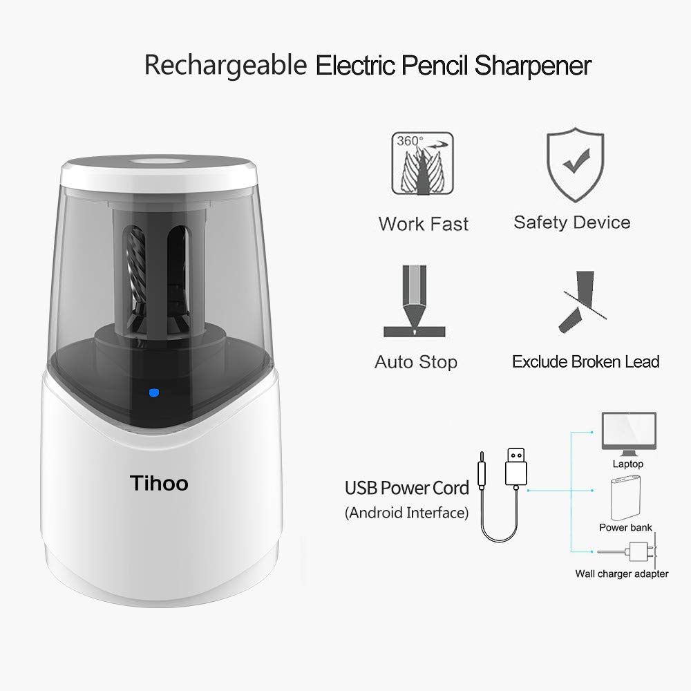 Rechargeable Powerful Electric Pencil Sharpener with USB Cable Fast Charge & Sharpen Durable Helical Blade Auto Stop for No.2 & Colored 6-8mm Pencils in School Classroom/Office/Home by TC (Image #4)