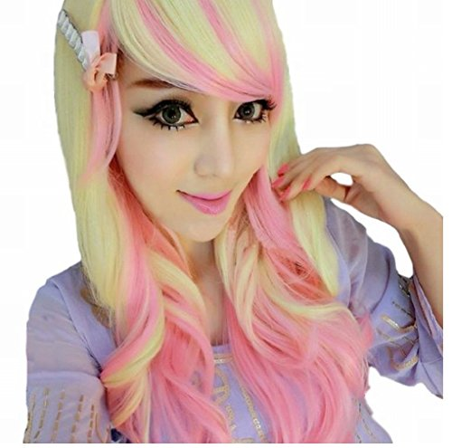 [POJ Lolita Cosplay Long Hair Wig Harajuku Japan Fashion [ Pinkbeige ]] (Disney Group Costumes Ideas)
