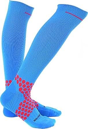 Compression Socks 20-30 mmhg for Flight, Maternity, Athletics, Travel, Nurses - Medical Care Grade for Shin Splints, Calf and Leg Pain - Running Socks for Women & Men (S, Blue)