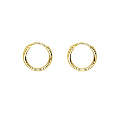 37de56e6a IminiJewelry Fashion Gold Plated Thin Endless Sterling Silver Small Hoop  Earrings for Women Teen Girls Continuous