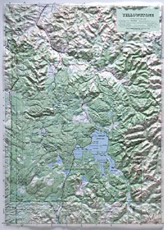 Amazoncom YELLOWSTONE NATIONAL PARK Raised Relief Map With - Relief map of us