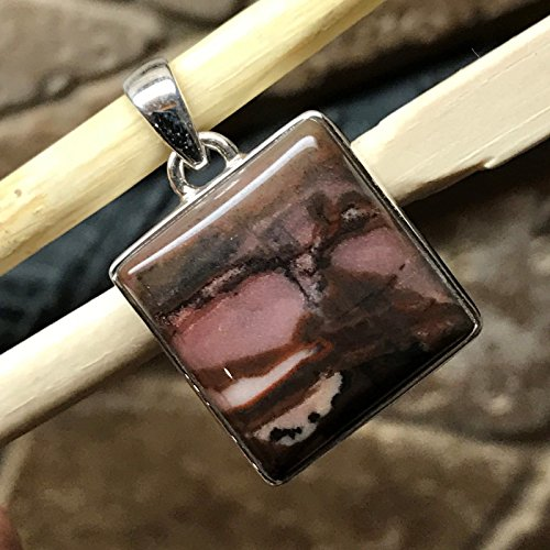 Handmade Silver Sterling Cabochon Pendant (Natural Picasso Jasper 925 Solid Sterling Silver Smooth Cabochon Pendant 40mm)