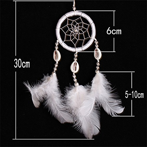 Per Mini Handmade Dream Catchers With Conch Wind Chimes Dreamcatcher Net Hanging Decoration Ornament For Bedroom /Car /Wedding(2.367.09in)-Black by Per (Image #5)