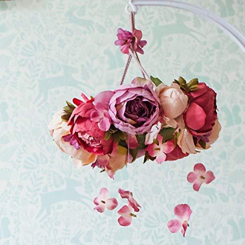 (Flower mobile, floral mobile, baby girl mobile, floral chandelier, floral nursery, pink mobile, boho mobile, baby mobile, flower chandelier)