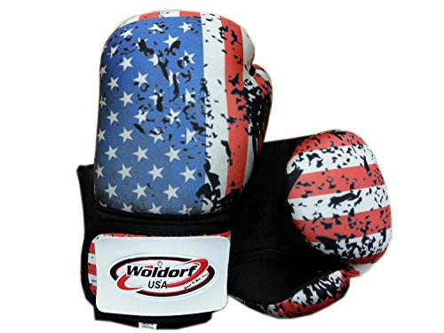 Woldorf USA Washable Boxing Bag Gloves with imprint American flag 12oz by Woldorf USA