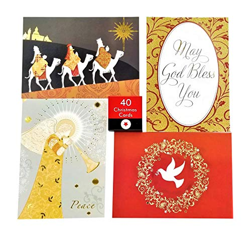 40 Religious Christmas Holiday Boxed Greeting Cards with Envelopes - Sentiment and KJV Scripture Inside - 4 Xmas Designs in Box Sets with Foil Stamp or Glitter - 5x7 Inch Cards (Religious 2) (Merry Religious Christmas)