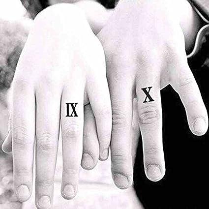 Oottati 2 Hojas Números Romanos Dedos Tatuajes Temporales TF56 ...