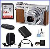Canon PowerShot G9 X Digital Camera (Silver) Pro Bundle includes: 64GB SDXC Class 10 Memory Card, Card Reader, Case, Spare Battery & more…