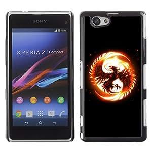 TECHCASE**Cubierta de la caja de protección la piel dura para el ** Sony Xperia Z1 Compact D5503 ** Flaming Phoenix