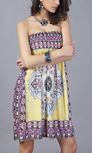 Ethnic Party Girls Shoulder Style Size Coolred A Yellow Floral Dress Women Plus SXnw6p