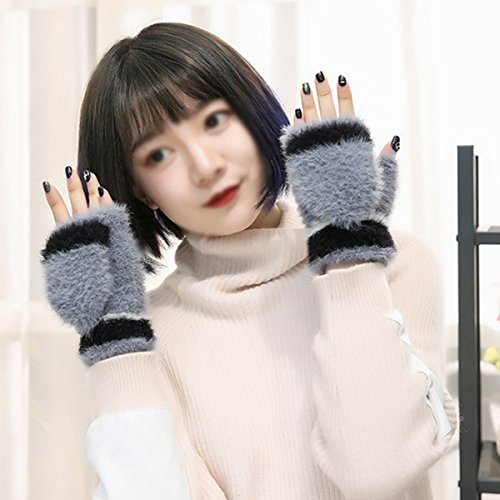 Women Cute Half Finger Gloves Flip Top Convertible Mittens Plush Faux Fur Mitts(Grey) by Mily (Image #2)