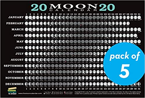 Calendar Of Moon Phases 2020 2020 Moon Calendar Card (5 pack): Lunar Phases, Eclipses, and More
