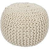 Surya POUF-78 Hand Made 100% Wool Desert Sand 18'' x 18'' x 12'' Pouf